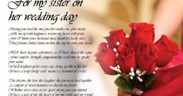 Personalised Poem Poetry For My Sister Bride On Her