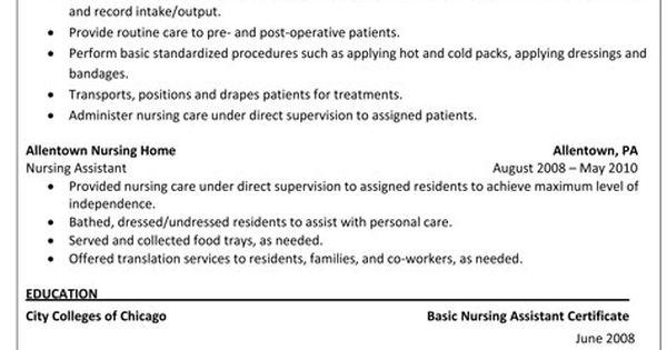 Sample Resume For CNA