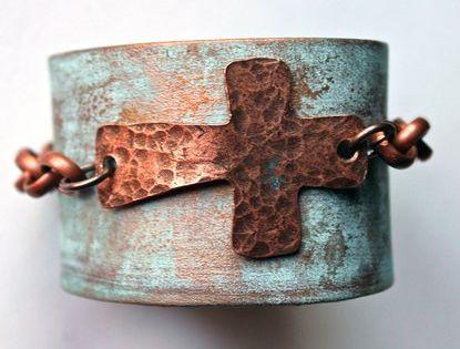 Jewelry Junkie Women's Metallic Hand Painted Leather Cuff Bracelet with Sideways Cross