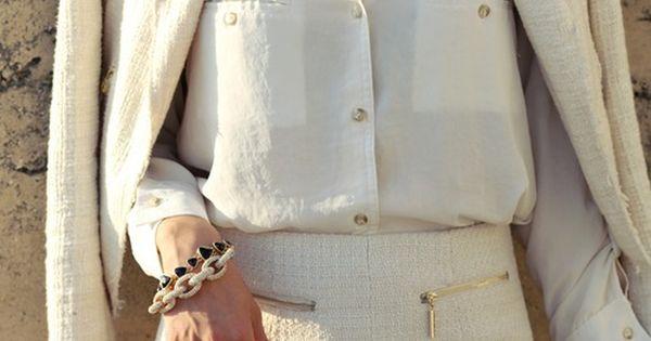 Jacket- Zara, Blouse- DailyLook, Tweed Shorts- DailyLook, Crystal Necklace- T+J Design, Link