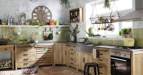 Meuble bas de cuisine avec vier en pin recycl l90 - Meuble de cuisine maison du monde ...