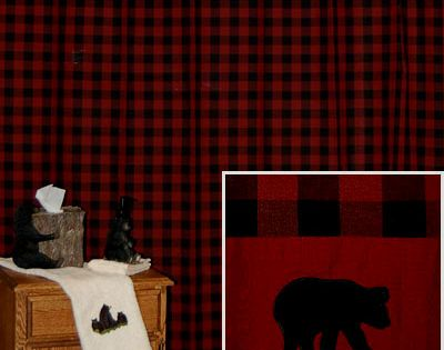 Bear Shower Curtain In Red