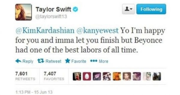 Taylor Swift Dissing Kayne In A Tweet It S Unclear If Swift S Twitter Account Was Hacked But The Tweet Funny Facebook Status Just For Laughs Funny Tweets
