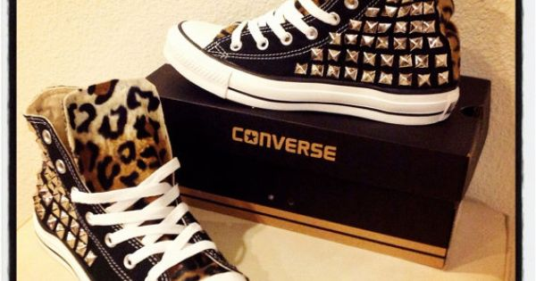 Custom studded Converse Chuck Taylors with faux leopard fur ANY SIZE/COLOR (made to order). $149.00, via Etsy.