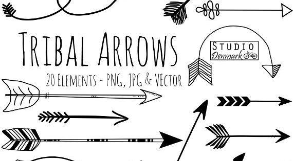Tribal Arrow Clipart and Vectors - Hand Drawn Arrow Clip Art -