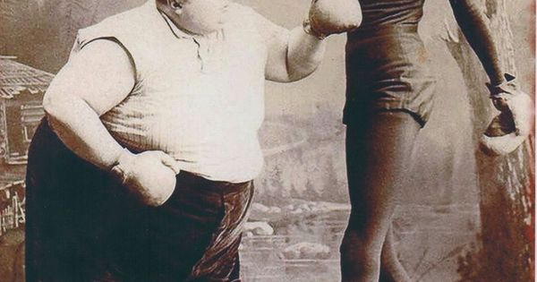 fat man skinny man boxing print