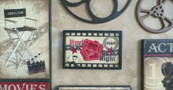 large wooden movie reel film wooden wall decor plaque burgundy home theater on ebay totally - Home Cinema Decor