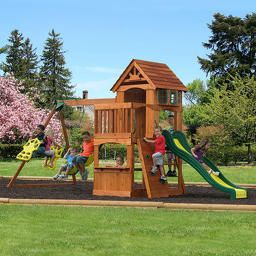 The Atlantis Cedar Wood Swing Set By Backyard Discovery Sold At Backyard Imagination Lowest Prices Online In Stores Free Shipping No Tax Backyard