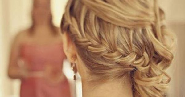 Side Braid With Loose Curls paulmitchell pmtslombard bridal wedding sidebraid braid cascadingcurls
