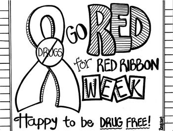 Red Ribbon Week Coloring Sheet Red Ribbon Week Red Ribbon Ribbon