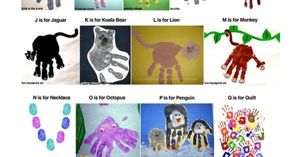 Alphabet Book: hand print ideas (ideas only)
