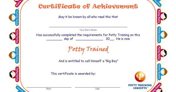 Free Potty Training Certificates for BOYS Awards and - free training certificates