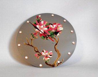 Pin By Victory Glass Design On Deco Cherry Blossom Wall Art Floral Wall Clocks Japanese Wall Art