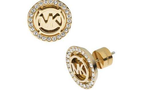 #michael kors outlet Michael Kors Logo Pave Stud Golden Earrings In Our
