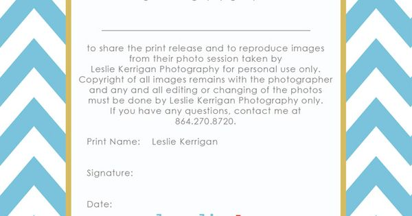 of Photography Print Release Wording