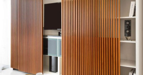 Sliding Door Vertical Slats | Cabinet | Interior idea ...