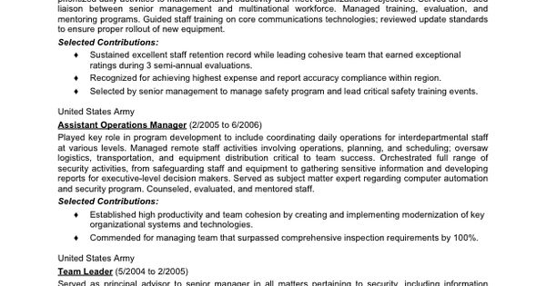 Military-to-Civilian Conversion - Sample Resume for Logistics - sample resume team leader