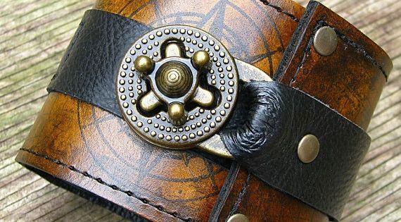 Steampunk Poignet Portefeuille Bracelet Manchette De Cuir