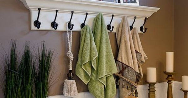 Great towel rack/ towel hooks for the master bathroom.