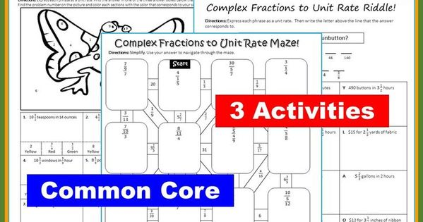 complex fractions to unit rate maze riddle coloring page fun math activities. Black Bedroom Furniture Sets. Home Design Ideas