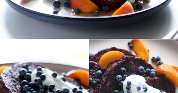 Blueberry almond butter French toast with peaches