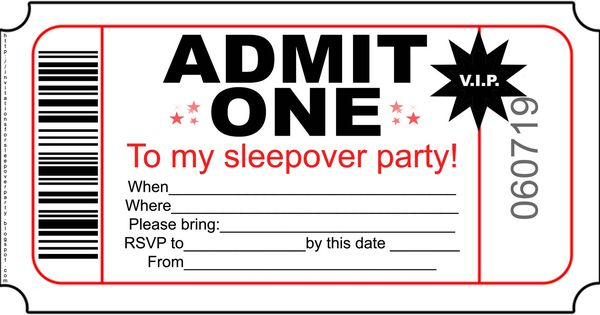 INVITATIONS FOR SLEEPOVER PARTY Ems party – 10 Year Old Birthday Invitations