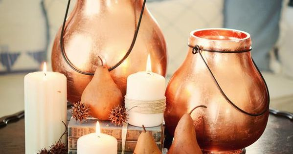Lanterns Made Glamorous with Copper Leaf from Craft Store table lantern diy