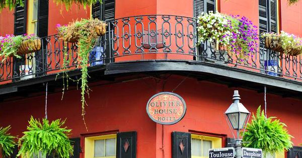 NOLA... Olivier House Hotel, a half block from Bourbon Street, corner of