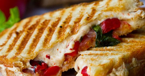 Tomato Basil Roasted Pepper Panini