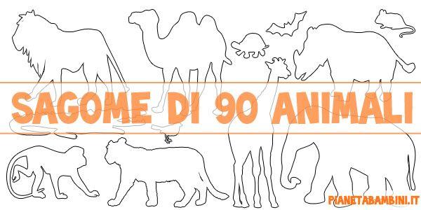 Sagome di 90 animali da stampare gratis colorare e for Immagini da colorare di animali marini