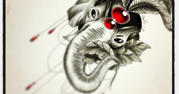 Elephant tattoo drawing. Sarah Horne