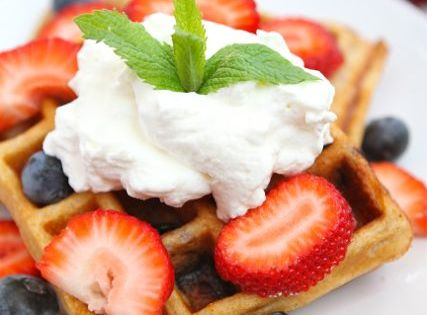 Blueberry Yogurt Waffle Recipe on twopeasandtheirpod.com. Perfect ...