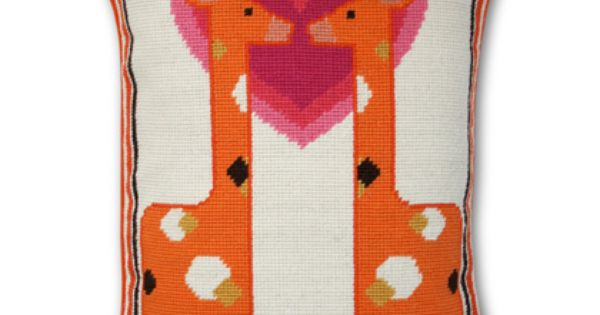 Jonathan Adler Junior Needlepoint Kissing Giraffe Pillow http://www.laylagrayce.com/Products/Jonathan-Adler-Junior-Needlepoint-Kissing-Giraffe-Pillow__JA7843.aspx