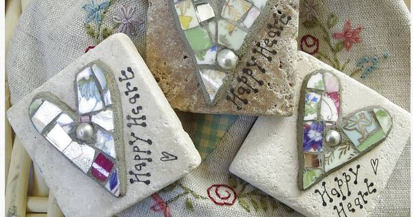 Cute idea :) Mosaic hearts on limestone tiles -