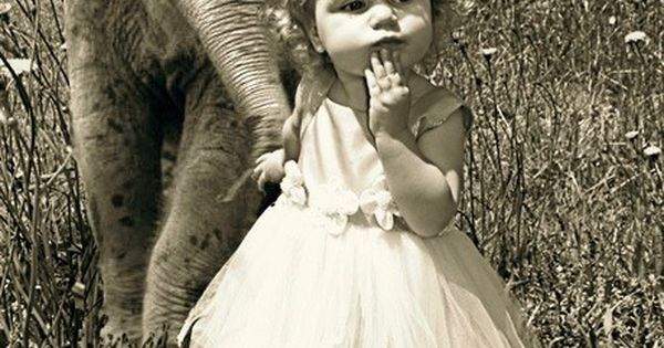 Vintage photo of little girl with baby elephant