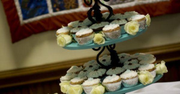 DIY Cupcake tower with mini wedding cake atop~   Wedding Obsession