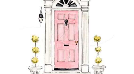 Pink Door Art Print Hand Painted Watercolor Charleston South