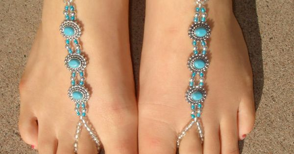 Silver and Turquoise Oval Barefoot Sandals, Slave Anklet, foot jewelry, ankle bracelet with toe ring