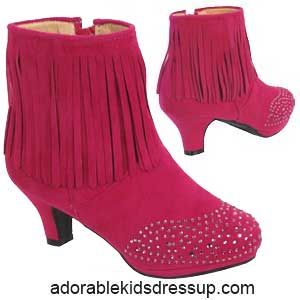 Fuchsia Pink Ankle Boots For Little Girls Adorable Fashion For Kids At Www Adorablekidsdressup Com High Heel Boots Ankle Girls Boots Pink Ankle Boots