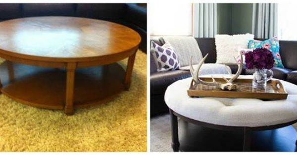 how to turn a round coffee table into an ottoman 1