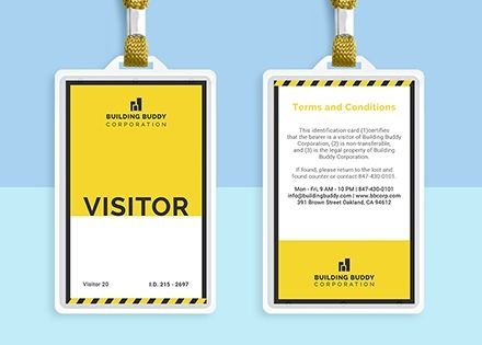 Construction Visitor Id Card Template Free Jpg Illustrator Indesign Word Apple Pages Psd Template Net Id Card Template Card Template Badge Template