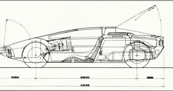 dimensional drawing of the 1972 maserati boomerang gallery