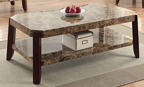Acme Furniture 82125 Dacia Coffee Table Faux Marble Brown You