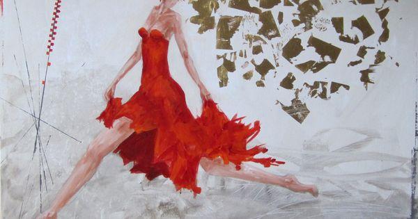 Zwierig schilderij kleuren wit rood goud springende dansende vrouw spannend en energiek - Bruin taupe schilderij ...