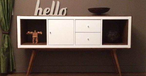 relookage meuble kallax ikea en meuble r tro je rajouterai bien un peu de couleur une des. Black Bedroom Furniture Sets. Home Design Ideas