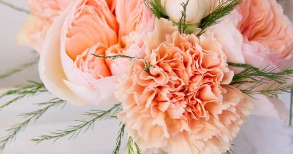 White, Peach and Emerald Green Wedding Flowers with garden roses and carnations