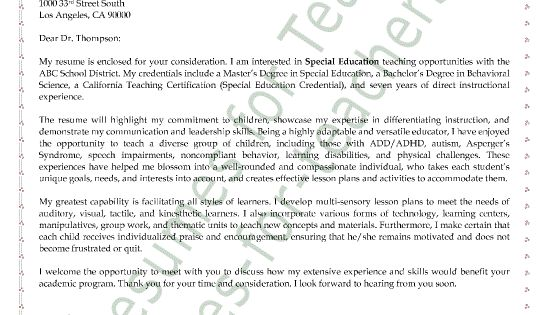Cover Letter Sample, Letter Sample And Special Education
