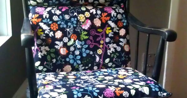 Rocking Chair Cushion - Black Floral  Foam pillows, Rocking chairs ...