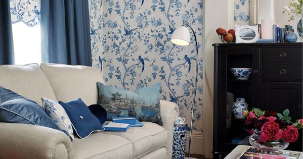 Laura Ashley Kitchen >> Laura Ashley Summer Palace Royal Blue Floral Wallpaper #LauraAshleyHome #ChinaBlueCollection