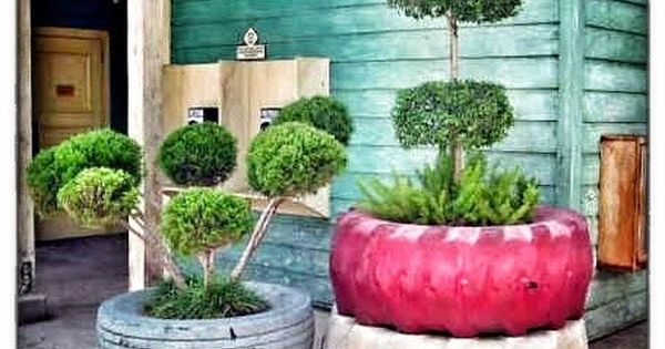 Manicured shrubs in old re used tires 100 container garden ideas for arkansas texas tennessee - Garden ideas using old tires ...
